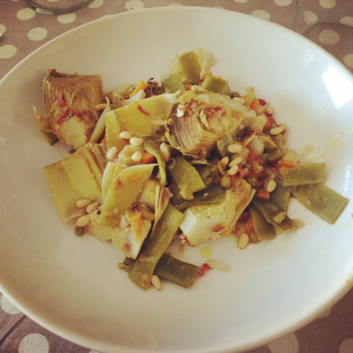 Menetra de verduras con virutas de jamón ibérico